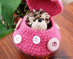 Hedgehog and his 'Shroom (UPDATED w/ link to download pattern) - CROCHET http://warmfuzzies.typepad.com/pdf/sammy.pdf