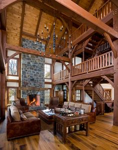 Timber Frame Great Rooms With Dreamy Fireplaces