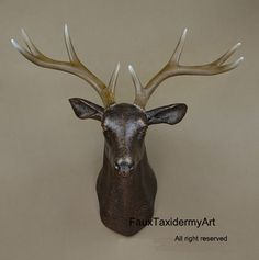 Large Antique bronze Faux Deer Head, wall decor, wall hanging, faux taxidermy, deer home decor, wall hanging, wall art faux animal