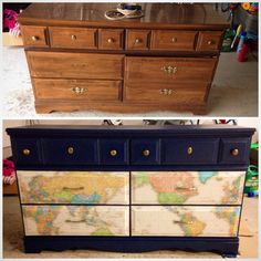 Fun Dresser Re-do for the Nursery - they mod podged the maps on the drawer fronts and painted navy. Too sweet!