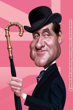 A caricature of Patrick MacNee - The Avengers, in his most famous role: Mr. Cartoon Faces, Funny Faces, Cartoon Drawings, Cartoon Art, Cartoon Characters, Caricature Artist, Caricature Drawing, Funny Caricatures, Celebrity Caricatures