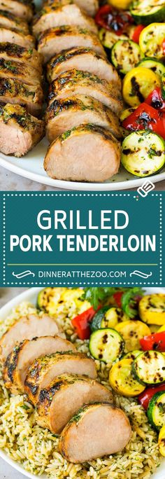 This grilled pork tenderloin is soaked in a garlic and herb marinade, then cooked on the grill under caramelized and tender. Grilled Pork Loin, Marinated Pork Tenderloins, Grilled Shrimp, Grilled Meat, Lamb Recipes, Meat Recipes, Cooking Recipes, Shrimp Recipes, Paleo Recipes