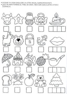 Teacher says the name of each object and student writes the first letter of that word in the blank. The 4 letters spell the name of the last object. Spanish Teaching Resources, Teaching Activities, Alphabet Activities, Spanish Lessons, Educational Activities, Activities For Kids, Preschool Printables, Learning Through Play, Activity Centers