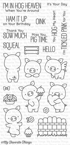 "MFT STAMPS: Hog Heaven (4"" x 8.5"" Clear Photopolymer Stamp Set) This package includes Hog Heaven, a 23 piece set including: - Pigs (5) 1 1/4"" x 1 3/4"", 1"" x 1 9/16"", 1"" x 1 3/4"", 1 1/4"" x 1 1/8"", 15/1"