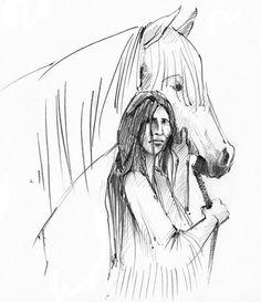 Abbildung aus dem Taschenbuch Lozen. Die tapfere Kriegerin der Apachen - Zeichnung: Antje Püpke, Berlin, http://www.fixebilder.de