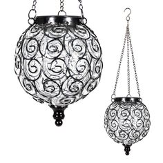 Exhart Solar Hanging Lantern, Handblown Clear Glass – Round Hanging Lantern Light w/ 12 LED Firefly String Lights, Metal & Glass Lantern Decorative Orb for Outdoor Décor l x w x h) Outdoor Hanging Lights, Outdoor Post Lights, Pathway Lighting, Barn Lighting, Accent Lighting, Lanterns Decor, Hanging Lanterns, Solar Post Lights, Lantern String Lights