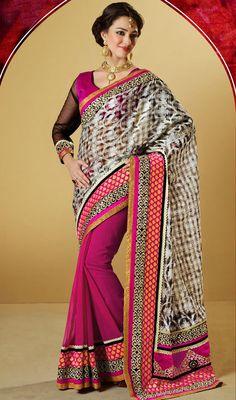 Pink and Beige Silk Half N Half Saree Price: Usa Dollar $125, British UK Pound £74, Euro92, Canada CA$136 , Indian Rs6750.
