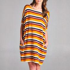 Mustard Striped Oversized Shirt Dress