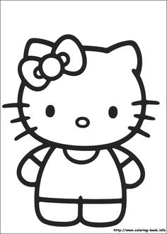 Hello Kitty coloring picture. Great coloring page and could be used for crafts, cake patterns and so on! Quilt pattern or for embroidery??