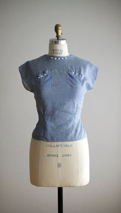 1940's Gingham Blouse