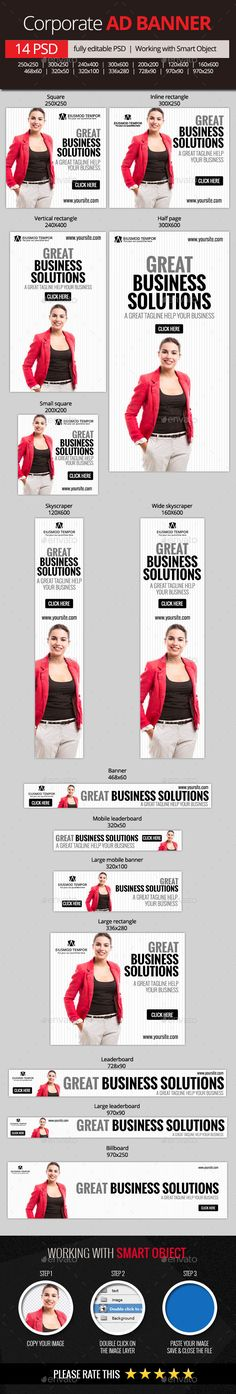 Corporate and Business Web Banners - Banners & Ads Web Template PSD. Download here: http://graphicriver.net/item/corporate-and-business-web-banners/11065225?s_rank=1185&ref=yinkira