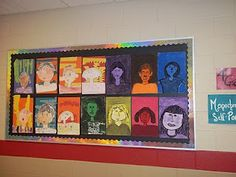 Self-portrait ideas for elementary students. I like the monochromatic ones.