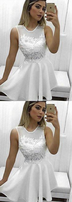 white homecoming dresses, appliques homecoming dresses, unique homecoming dresses