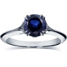 Annello by Kobelli 14k White Gold Blue Sapphire and Diamond Antique... (1,930 CAD) ❤ liked on Polyvore featuring jewelry, rings, white, round diamond ring, blue sapphire engagement rings, flower engagement ring, white gold diamond rings and diamond band ring