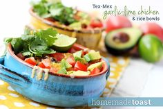 Tex-Mex Garlic-Lime Chicken and Rice Bowls