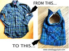 DIY pet coat from an old shirt. Site has lots of other DIY crafts for pets