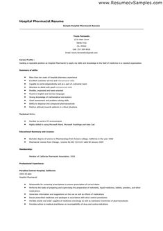 Hospital Pharmacist Resume - http://topresume.info/hospital-pharmacist-resume/