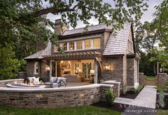 Garden Cottage | Alice Lane Interior Design | Builder: Jackson and Leroy | Photo by Josh Caldwell Stacked Stone Walls, Farmhouse Remodel, Garden Cottage, Cottage Office, Indoor Outdoor Living, Outdoor Spaces, Maine House, Architect Design, Custom Homes