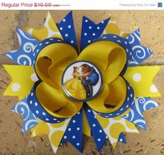 Disney Princess Belle Beauty & the Beast inspired Yellow Blue Custom layered Boutique Hair Bow for Disney World Vacation Diy Hair Bows, Diy Bow, 50th Birthday Presents, Princess Hair Bows, Ribbon Bows, Diy Ribbon, Ribbon Hair, Disney Bows, Disney Princess Belle
