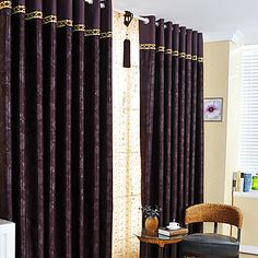 Traditional Floral Embossed Blackout Curtains (Two Panels) – USD $ 74.99