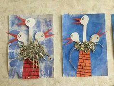 stork #Kunsterziehung #stork Spring Projects, Stem Projects, School Art Projects, Spring Crafts, Easter Crafts, Diy And Crafts, Crafts For Kids, Spring Activities, Spring Art