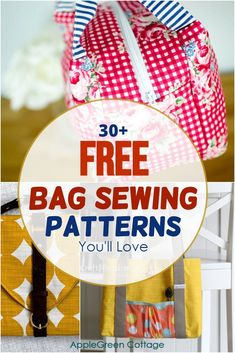 31 best bag sewing patterns you'll love to sew! Check out these free bag patterns - I collected the best free designer bag patterns out there, from beginner bag tutorials up to advanced bag sewing projects. These bag patterns include all the popular bag designs: from messenger bag pattern or a sling bag, a free tote bag pattern, round and cargo duffle bag patterns, handbag pattern, even a mens bag pattern, and many more! #bagpatterns #sewingbags #freepatterns Duffle Bag Patterns, Diaper Bag Patterns, Messenger Bag Patterns, Handbag Patterns, Bag Patterns To Sew, Sewing Patterns Free, Free Sewing, Bag Pattern Free, Tote Pattern