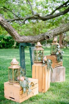 Lanterns wooden crates wedding ceremony decorations / http://www.deerpearlflowers.com/country-wooden-crates-wedding-ideas/2/