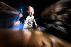 Drummer playing with ferocious passion. Power and energy he plays with, creates a blur effect on cymbals situated in the foreground. Blur Effect, Shallow Depth Of Field, Music Bands, Lifestyle Photography, Rock Music, Erotic, Passion, Let It Be, Concert