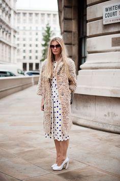 Furry coat, polka dot dress.