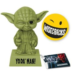 "Funko Yoda: Yoda Man by Funko. $10.65. Refuse the darkside with Jedi Master Yoda. Makes a great gift for any Yoda fan. Collect them all. May the Force be with you. Stylized and fun. From the Manufacturer                Yoda is as cool as ever, giving you a wink and a thumbs up. The inscription on his base states ""Yoda' Man.""                                    Product Description                If you love Star Wars, the Funko 6-inch tall Star Wars Wacky Wisecracks Yoda Man Vi..."