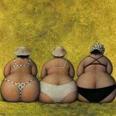 Plus-size Art series : Jeanne Lorioz Illustrations, Illustration Art, Plus Size Art, Fat Art, Three Sisters, Jeanne, Fat Women, French Artists, Big And Beautiful