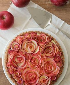 Apple Rose Tart with Maple Custard and Walnut Crust (Gluten Free)