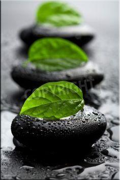 Leinwandbild Schwarze Zensteine mit Blatt und Wassertropfen
