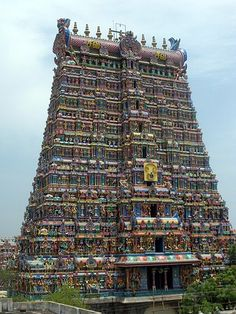 India: Madurai in Tamil Nadu. Meenakshi Amman Temple is a historic Hindu temple located in the southern bank of river Vaigai in the temple city of Madurai, Tamil Nadu. It is dedicated to Parvati who is known as Meenakshi and her consort, Shiva, named here as Sundareswarar. The temple forms the heart and lifeline of the 2500 year old city of Madurai.