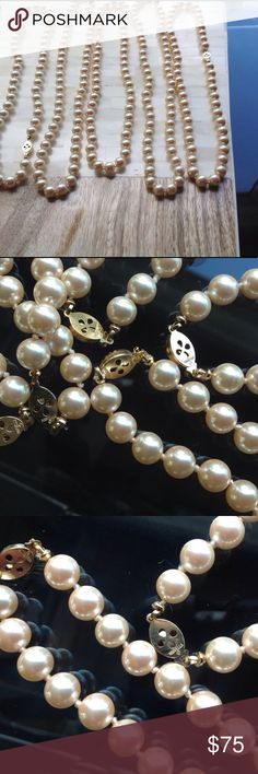 Bridal Party pearl necklaces / vintage by Marvella Vintage Jewelry --->>>  Faux pearl necklaces with a gold tone clasp stamped Marvella. Pearls are knotted between each one.  Also groups of other lengths. Convo if intersted.  Sale is for all 5 necklaces. Vintage Jewelry Necklaces