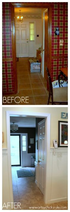 Foyer - BEFORE and AFTER - Kitchen looking towards Foyer - Wall Color - Sherwin Williams - Ivoire 6127 -artsychicksrule.com