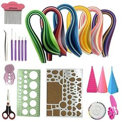 23 in 1 Quilling Kits Collection with Quilling Paper 5 mm (XLA)  1.Quilling Board 6.7-inch By 8.6-inch (17 x 22 cm)  2.Plastic Ruler 3.Tweezers 4.Straight Pins 5.Scissor  6.Quilling Coach 7.Quilling Comp 8.Crimper  9-13.Slotted Tools 5 pcs 14-16.Winding Tower 3 pcs 17.Storage Box  18-23.Quilling Paper 5x390 mm 6 sets (Total 720 pcs 36 colors)