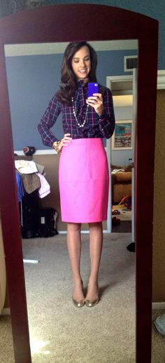 Polka dots   pink pencil skirt http://marionberrystyle.blogspot ...