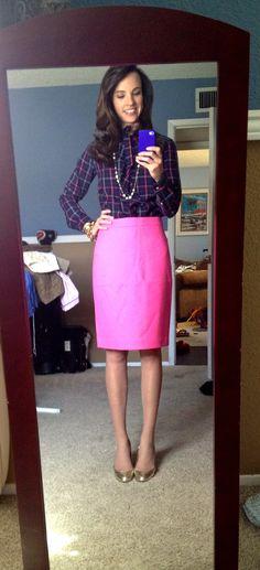 Polka dots   pink pencil skirt http://marionberrystyle.blogspot ...