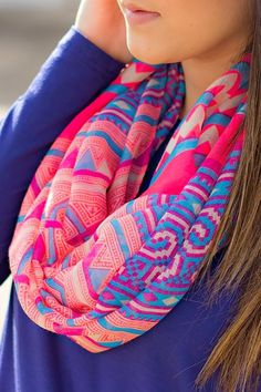 Colorful Stylish Scarf. Lots of girls are wearing scarves at my school and they really add pizazz to their outfits. I need to get to it and buy a cute one. -Fashion Jane