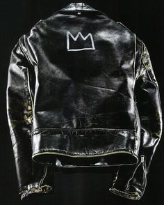 Glenn O'Brien's vintage Schott Perfecto Motorcycle leather jacket Customized by his friend artist Jean-Michel Basquiat in the 1980s | The Ultimate American Motorcycle Jacket from the closed of the style guy | #moto #perfecto #basquiat#GlennOBrien #leatherjacket #schottbasquiat #SchottPerfecto #Art #Artist #Basquiatcrown #style #fashion #Motorcycle #instafashion #inspiration #instagramers #Leather #Patina #Americana #Heritage #Vintage #LeatherJacket #Dirty #RiderWear #RocknRoll #Man #styl...