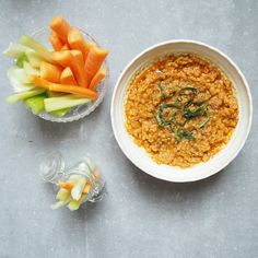 Red Lentil and Harissa Hummus - red lentils, olive oil, tomato concentrate, cumin, cayenne, fresh lime juice, salt & pepper