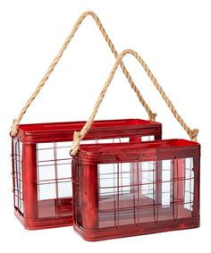 Look what I found on #zulily! Red Metal Lantern - Set of Two #zulilyfinds