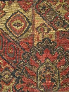 """Conquistador Inca.   Heavy duty tribal rug pattern jacquard tapestry fabric. Soft chenille accents. poly/cotton/rayon. 54"""" wide"""