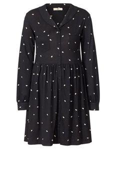 Tumbling Hedgehog Print Jersey Shirt Dress Black