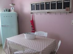 Cuisine bleu et rose pastel