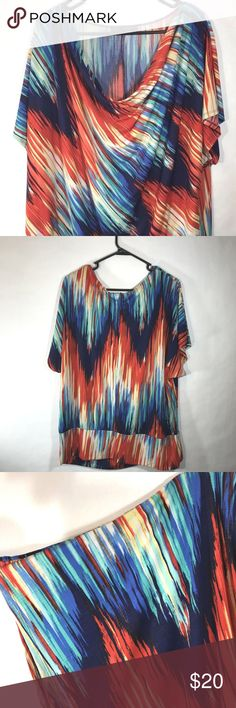 """HEARTSOUL Top 3X PLUS Waterfall Shirt HEARTSOUL Top Size 3X PLUS Multi Color Shirt Dressy Casual Plus Boho  Q01 96 Polyester/ 4 Spandex Flat Lay Measurements  Chest- 28"""" Shoulder to Shoulder- 22"""" Length- 28"""" Sleeve- 10"""" Heart SOUL Tops Blouses"""