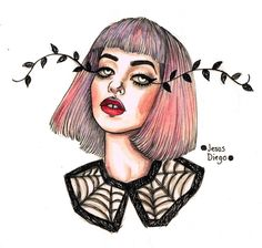 Melanie Martinez watercolour watercolor painting artwork pen drawing by Jesus Diego