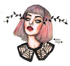 Melanie Martinez watercolour watercolor painting artwork pen drawing by Jesus Diego
