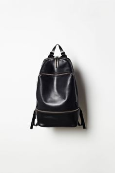 Philip Lim NATURAL POLISHED LEATHER BACKPACK FEATURING DOUBLE ZIP-AROUND CLOSURE, FRONT POUCH POCKET, AND ADJUSTABLE SHOULDER STRAPS.